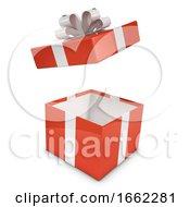 3d Red Gift Box Lid Flies Off