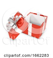 3d Red Gift Box Open