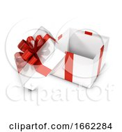 3d White And Red Open Gift Box