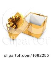 3d Open Gold Gift Box