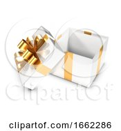 3d White And Gold Open Gift Box
