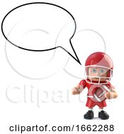 3d American Football Player With Blank Speech Bubble