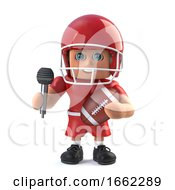 3d American Footballer Holding A Microphone And Football