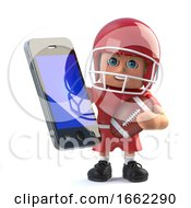 3d American Football Player Holding A Smartphone Tablet Device