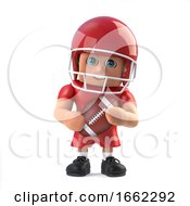 3d American Footballer Holds The Ball