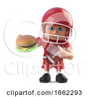 3d American Footballer Eating A Beefburger