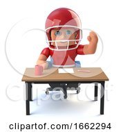 3d American Football Player Waving From Behind A Desk
