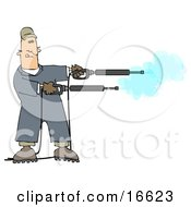 Mischievious Adult Caucasian Man In Blue Coveralls Playing With Two Power Washer Or Pressure Washer Nozzles And Spraying Them Like Guns