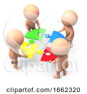 Poster, Art Print Of 3d Little People Solve The Puzzle