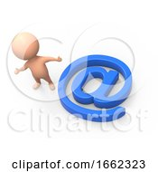 Poster, Art Print Of 3d Little Man With Email Symbol