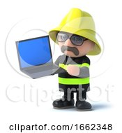 3d Firefighter Holds A Laptop Pc by Steve Young