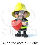 Poster, Art Print Of 3d Firefighter With A Heart