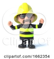 3d Fireman Is Cheering by Steve Young