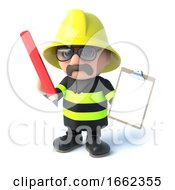 3d Firefighter With Clipboard And Pencil by Steve Young