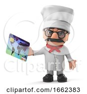 3d Italian Pizza Chef Character Pays With A Debit Card