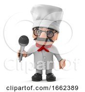 3d Funny Italian Pizza Chef Character Sings Into The Microphone