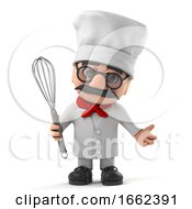 3d Funny Old Italian Chef Character Holding A Whisk