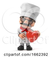 Poster, Art Print Of 3d Funny Italian Pizza Chef Character Is In Love