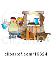 Unaware Boy And Girl Preparing Beverages At Their Lemonade Stand While Their Dog Urinates In A Cup For An Unsuspecting Customer