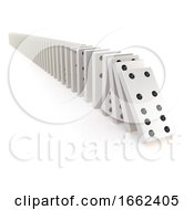 3d Row Of White Dominoes Falling