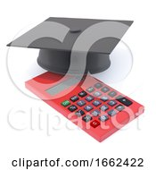 3d Graduate Mortar Board On Calculater by Steve Young