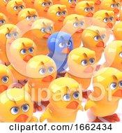 Poster, Art Print Of 3d Blue Chick Amongst Yellow Chicks