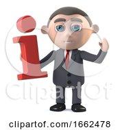3d Businessman Holding An Information Symbol