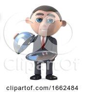 3d Businessman Offers Silver Service