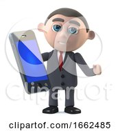 3d Businessman Using His New Smartphone Tablet Device