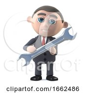 3d Businessman Holding A Large Spanner