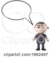 3d Businessman With Empty Speech Bubble