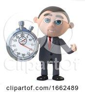 3d Businessman Watches The Clock