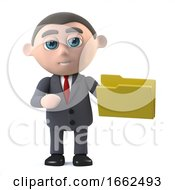 3d Businessman Has A Folder