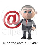 Poster, Art Print Of 3d Businessman Has An Email Address Symbol