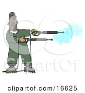 Mischievious Adult African American Man In Green Coveralls Playing With Two Power Washer Or Pressure Washer Nozzles And Spraying Them Like Guns Clipart Image Graphic