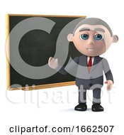 3d Businessman Using A Blackboard