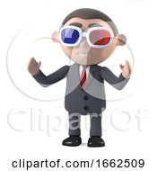 3d Businessman Watches A 3d Movie