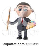 Poster, Art Print Of 3d Businessman Is An Artist