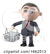 3d Businessman Goes Shopping With A Basket