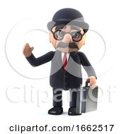 3d Bowler Hatted British Businessman With Briefcase Is Waving Hello