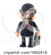 3d Bowler Hatted British Businessman With Briefcase