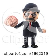 3d Bowler Hatted British Businessman Holding A Brain