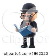 3d Bowler Hatted British Businessman Reading A Book