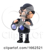 3d Bowler Hatted British Businessman With A Pair Of Binoculars