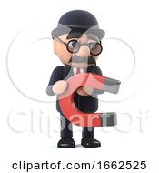 3d Bowler Hatted British Businessman Has A Magnet