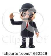 3d Bowler Hatted British Businessman Waves Hello