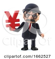 3d Bowler Hatted British Businessman Has Japanese Yen Currency Symbol