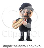 3d Bowler Hatted British Businessman Character Eating A Hotdog