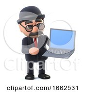 3d Bowler Hatted British Businessman Has A Laptop