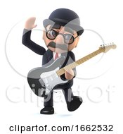 3d Bowler Hatted British Businessman Plays Electric Guitar